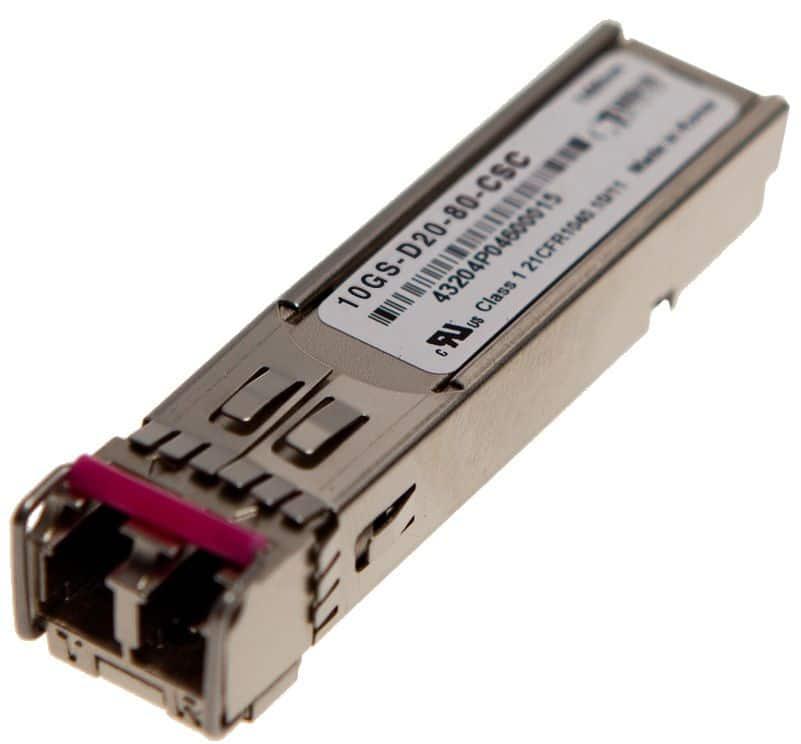 SFP+ 10GBASE-ZR DWDM CHxx 80km Transceiver, Cisco Systems compatible DWDM-SFP10G-wx.yz=