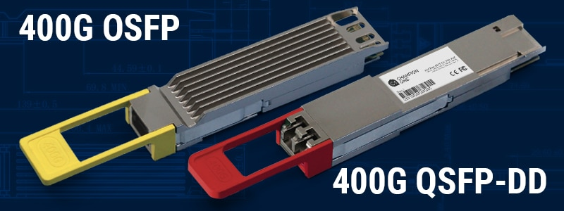 QSFP-DD and OSFP optical transceivers for 400G applications in the data center.