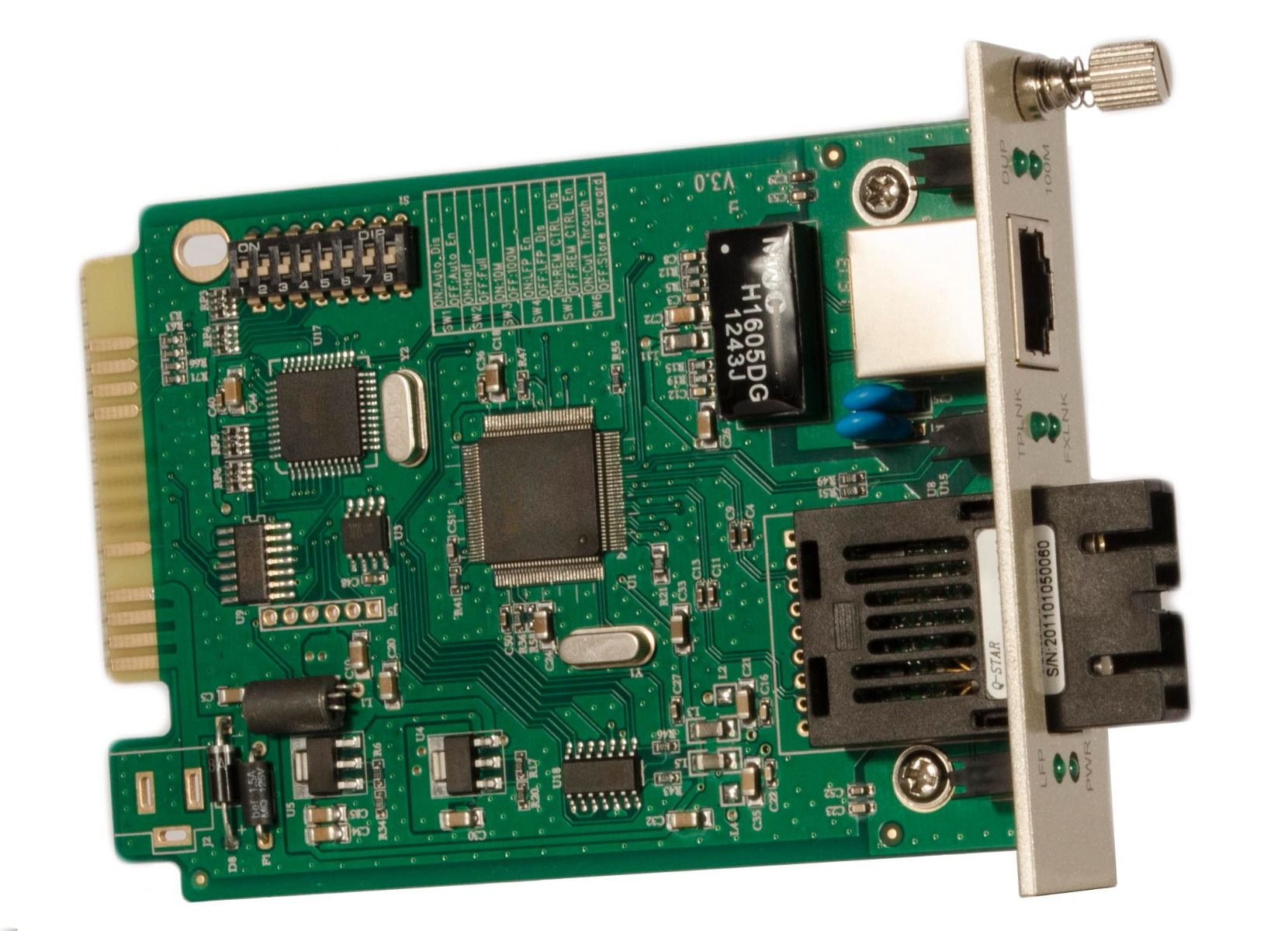 10/100M Fiber Media Converter Card – 20km rated built-in optics – CHASSIS REQUIRED